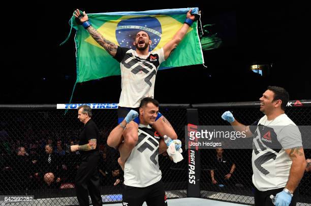 Santiago Ponzinibbio of Argentina celebrates after defeating Nordine Taleb of France in their welterweight fight during the UFC Fight Night event...