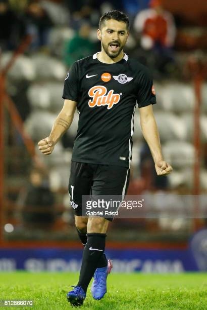 Santiago Salcedo of Libertad celebrates after scoring the fifth goal of his team during a first leg match between Huracan and Libertad as part of...
