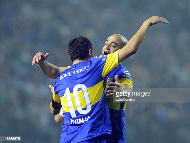 Santiago Silva and Juan Roman Riquelme of Boca celebrate the first goal of their team during the first leg of the Copa Libertadores 2012 semifinals...
