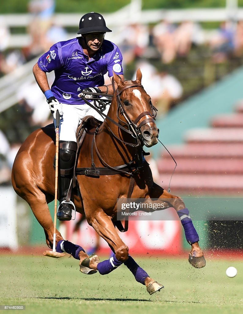 Santiago Toccalino of La Albertina hits the ball during a match between La Dolfina and La Albertina as part of the HSBC 124°° Argentina Polo Open at Campo Argentino de Polo on November 11, 2017 in Buenos Aires, Argentina.