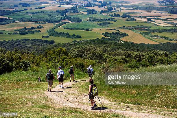 Santiago's Way Jacobean Routes French Way A group of pilgrims starting to go down the Alto del Perdon which is 1 037 metres high towards Uterga