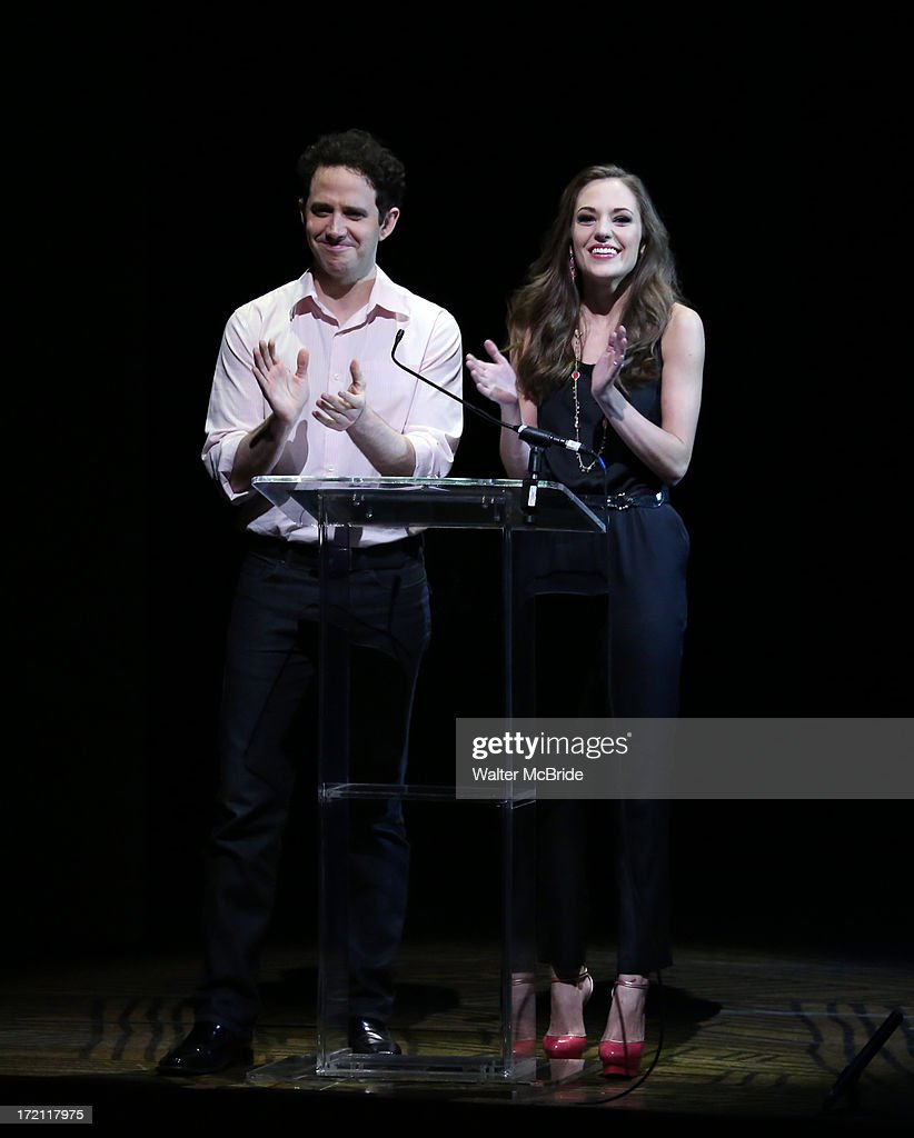 Santinio Fontana and <a gi-track='captionPersonalityLinkClicked' href=/galleries/search?phrase=Laura+Osnes&family=editorial&specificpeople=4213655 ng-click='$event.stopPropagation()'>Laura Osnes</a> performs at the 5th Annual National High School Musical Theater Awards at Minskoff Theatre on July 1, 2013 in New York City.