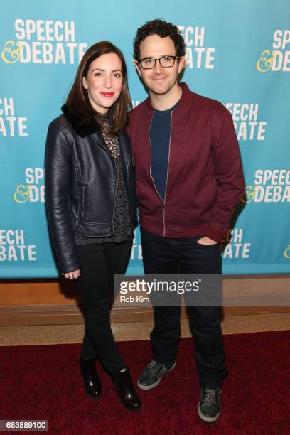 Santino Fontana and guest attend the premiere of 'Speech Debate' at American Airlines Theatre on April 2 2017 in New York City