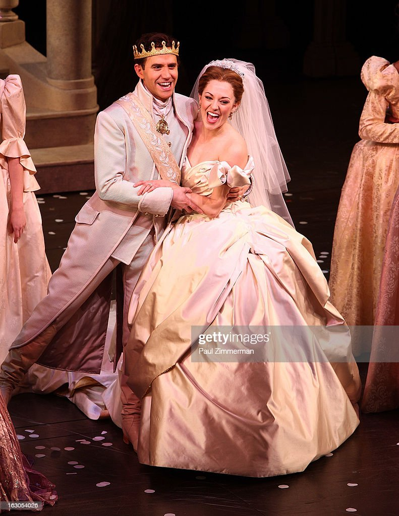 Santino Fontana (L) and <a gi-track='captionPersonalityLinkClicked' href=/galleries/search?phrase=Laura+Osnes&family=editorial&specificpeople=4213655 ng-click='$event.stopPropagation()'>Laura Osnes</a> (R) 'Cinderella' Broadway Opening Night curtain call at Broadway Theatre on March 3, 2013 in New York City.