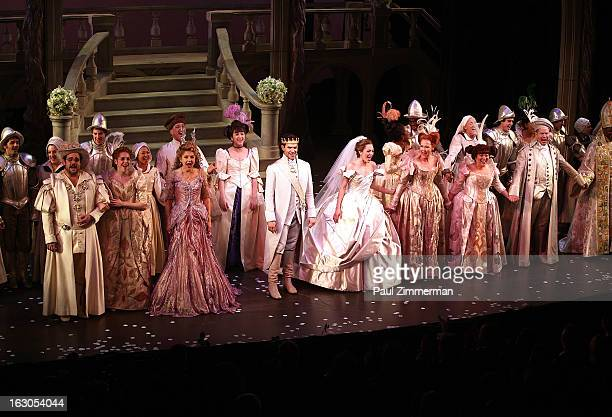 Santino Fontana and Laura Osnes with cast of'Cinderella' Broadway Opening Night curtain call at Broadway Theatre on March 3 2013 in New York City