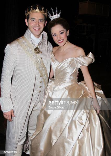 Santino Fontana as 'Prince Charming' and Laura Osnes as 'Cinderella' pose backstage at the hit musical 'Cinderella' on Broadway at The Broadway...