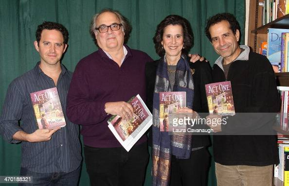Santino Fontana Christopher Hart Kathy Hart and Tony Shalhoub attend conversation with the Cast of 'Act One' at Barnes Noble 82nd Street on February...