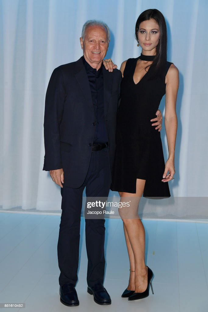 Santo Versace and Marica Pellegrinelli attend the Versace show during Milan Fashion Week Spring/Summer 2018 on September 22, 2017 in Milan, Italy.