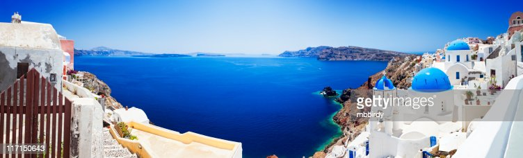 Santorini caldera with famous churches (XXXL panorama)