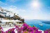 Santorini island, Greece. Beautiful view on the sea