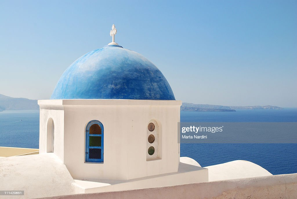 Santorini Island - Typical greek church above the