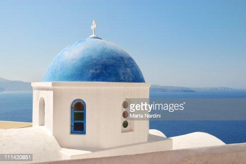 Santorini Island - Typical greek church above the
