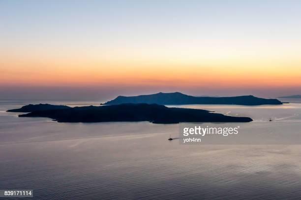 Coucher du soleil de Santorin volcan/caldeira