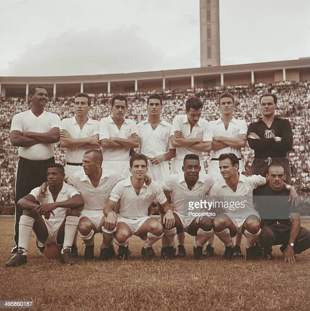 Santos FC of Brazil featuring Zito back row 3rd from left and Pele front row 4th from left posed circa 1960