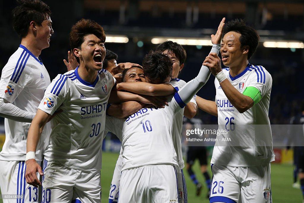 Santos of Suwon Samsung Bluewings celebrates after scoring a goal to make it 0-2 during the AFC Champions League Group G match between Gamba Osaka and Suwon Samsung Bluewings at Suita City Football Stadium on April 19, 2016 in Osaka, Japan.