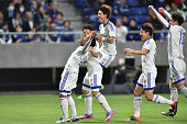 Santos of Suwon Samsung Bluewings FC celebrates with his team mates after scoring a second goal during the AFC Champions League Group G match between...