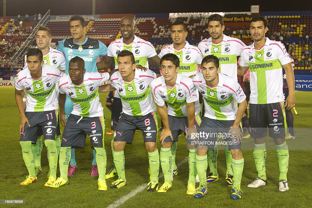 Santos team pose for a photo before a match between Atlante and Santos Laguna as part of the Apertura 2013 Liga MX at Olympic Stadium Andres Quintana Roo on October 26, 2013 in Cancun, Mexico.