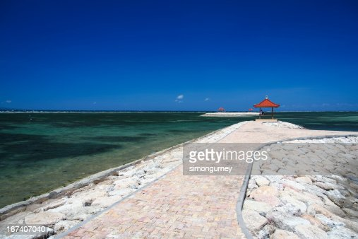 sanur candidasa beach breakwaters bali indonesia : Stock Photo