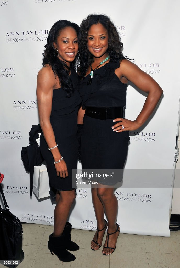 Sanya Richards (L) and Laila Ali attend the Ann Taylor Fall 2009 'See Now, Wear Now' Runway Show at the New York Public Library - Celeste Bartos Forum on September 17, 2009 in New York City.