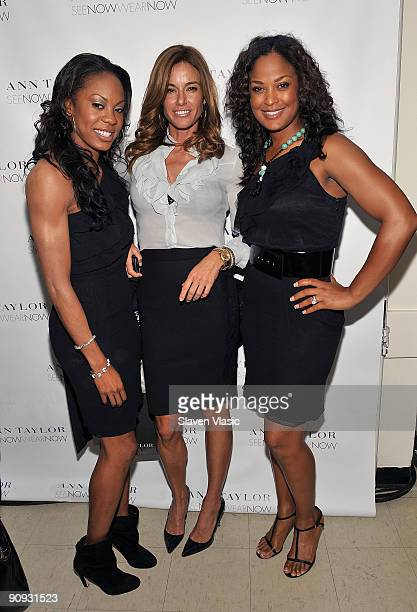 Sanya Richards Kelly Bensimon and Laila Ali attend the Ann Taylor Fall 2009 'See Now Wear Now' Runway Show at the New York Public Library Celeste...