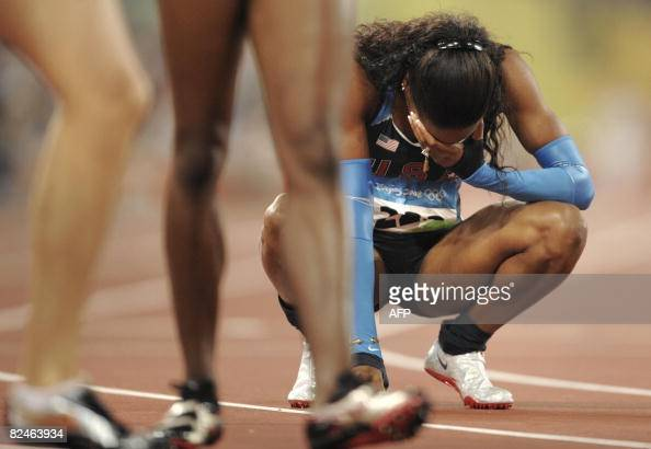 Sanya Richards of the US reacts after competing in the women's 400m final at the 'Bird's Nest' National Stadium during the 2008 Beijing Olympic Games...