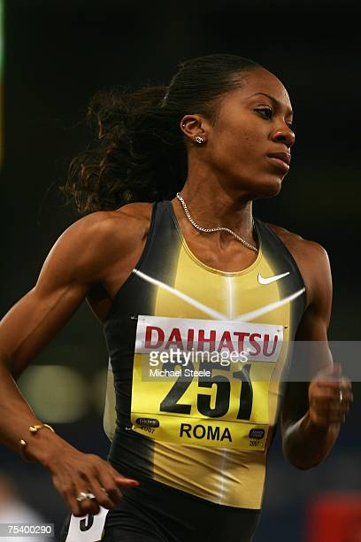 Sanya Richards of USA on her way to winning the women's 400m at the IAAF Golden Gala meeting at the Olympic Stadium on July 132007 in RomeItaly