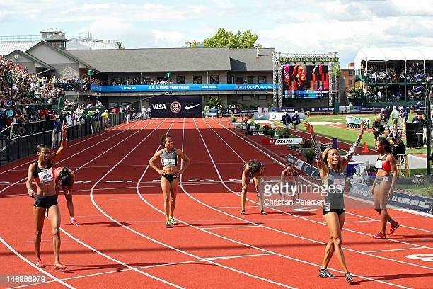 Sanya RichardsRoss and Dee Dee Trotter celebrates after coming in first and second in the women's 400 meter dash final during Day Three of the 2012...