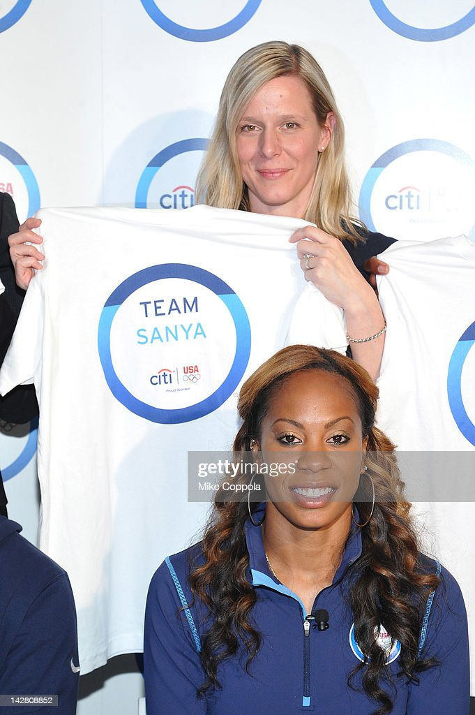 <a gi-track='captionPersonalityLinkClicked' href=/galleries/search?phrase=Sanya+Richards&family=editorial&specificpeople=239062 ng-click='$event.stopPropagation()'>Sanya Richards</a>-Ross of Team Citi and Jill Geer USA Track and Field, Chief Communications Officer take a 'signature step' to kick off Citi's Every Step of the Way Olympic program on April 12, 2012 in New York City.