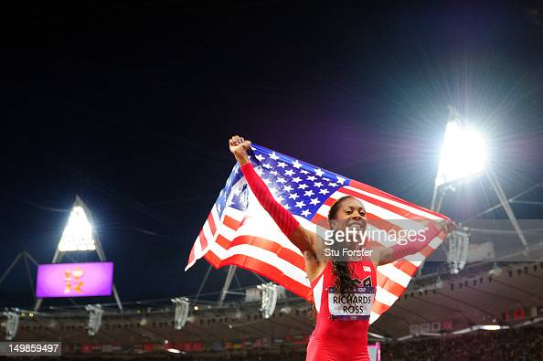 Sanya RichardsRoss of the United States celebrates winning gold in the Women's 400m Final on Day 9 of the London 2012 Olympic Games at the Olympic...