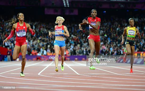 US' Sanya RichardsRoss Russia's Antonina Krivoshapka US' Deedee Trotter and Jamaica's Rosemarie Whyte compete in the women's 400m final at the...