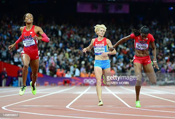 US' Sanya RichardsRoss wins the women's 400m final at the athletics event during the London 2012 Olympic Games on August 5 2012 in London AFP PHOTO /...