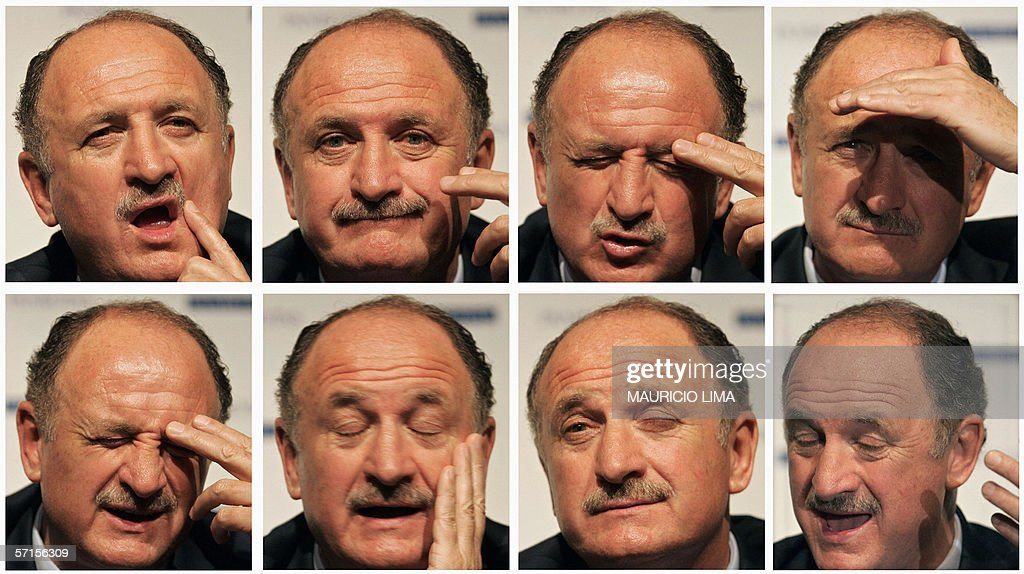 A combo of pictures showing reactions of Portugal's national soccer team coach Brazilian Luiz Felipe Scolari while he answers questions during a press conference, in Sao Paulo, Brazil, 22 March 2006. AFP PHOTO/Mauricio LIMA