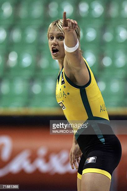 Australia's Erin Phillips gives instructions to her teammates in the game against Senegal for the FIBA World Championship for Women Brazil 2006 at...