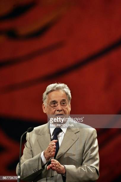 Former Brazilian President Fernando Henrique Cardoso delivers a speech during the seminary 'Presidents of Latin AmericaEvolution of the Democratic...
