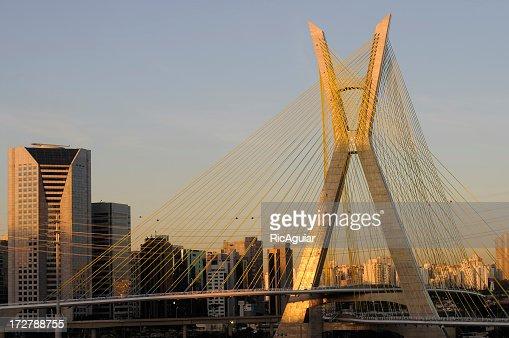 Sao Paulo bridge on a summers evening