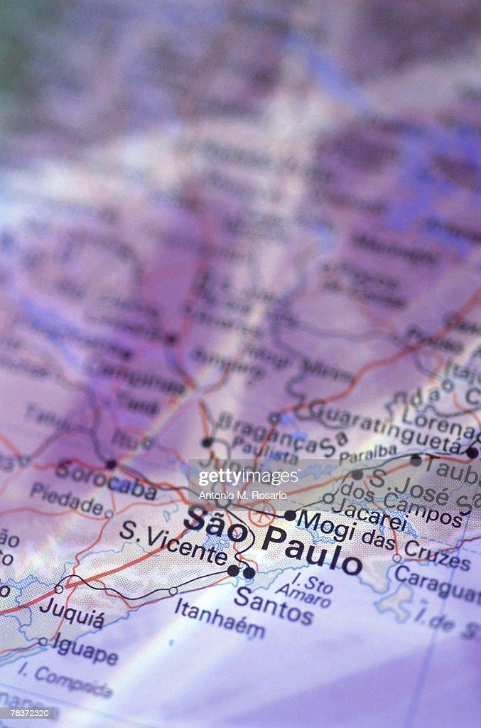 Sao Paulo on map : Stock Photo