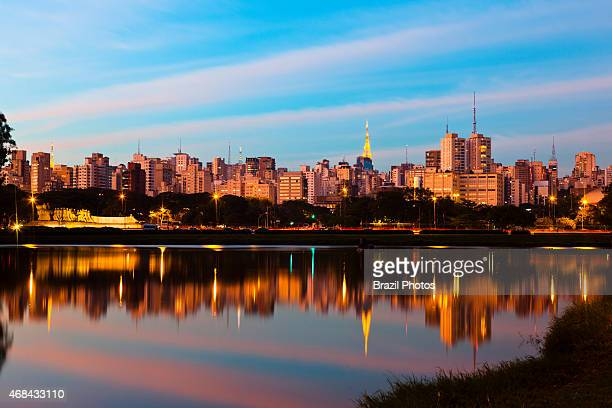 Sao Paulo skyline seen from Ibirapuera Park a major urban park of the city Brazil