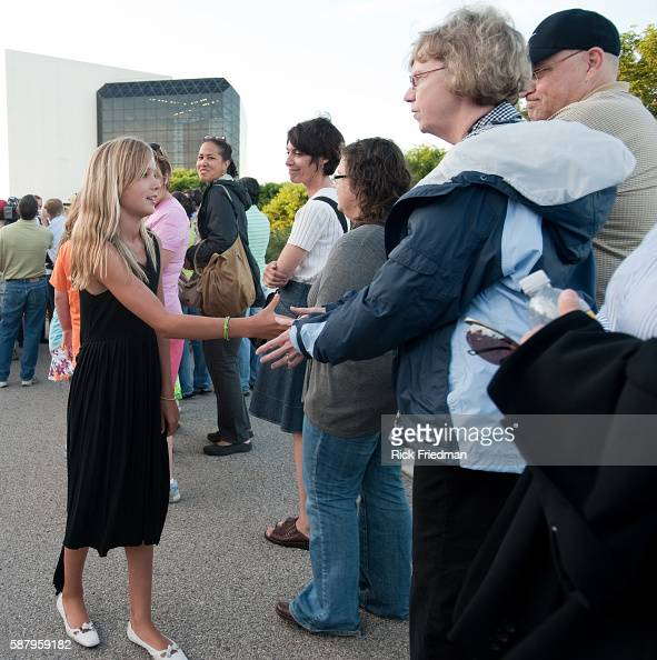 Saoirse Kennedy daughter of Robert Kennedy Jr greeting people waiting in the 3 plus hour line to pay respects to Senator Edward M Kennedy at the John...