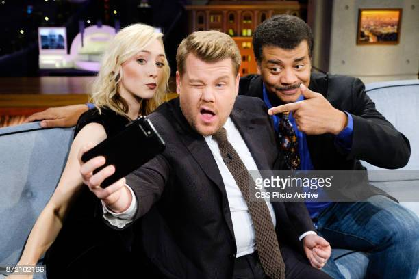 Saoirse Ronan and Neil deGrasse Tyson chat with James Corden during 'The Late Late Show with James Corden' Wednesday November 8 2017 On The CBS...