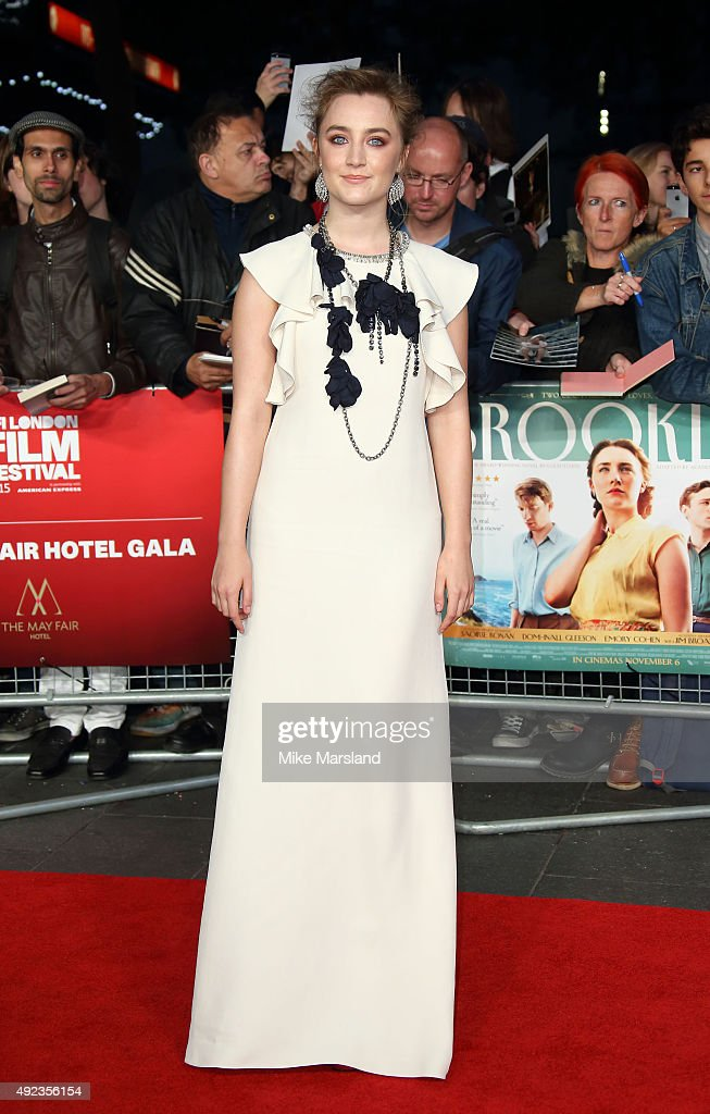 Saoirse Ronan attends a screening of 'Brooklyn' during the BFI London Film Festival at Odeon Leicester Square on October 12 2015 in London England