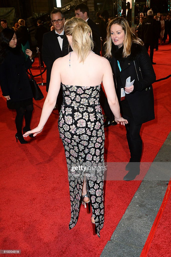 Saoirse Ronan, dress detail, attends the EE British Academy Film Awards at The Royal Opera House on February 14, 2016 in London, England.