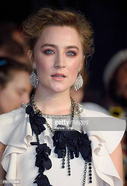 Saoirse Ronan earring detail attends a screening of 'Brooklyn' during the BFI London Film Festival at Odeon Leicester Square on October 12 2015 in...
