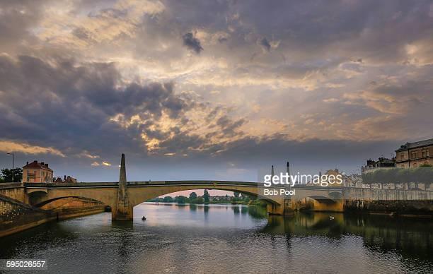 Saone River bridge, Burgundy, France