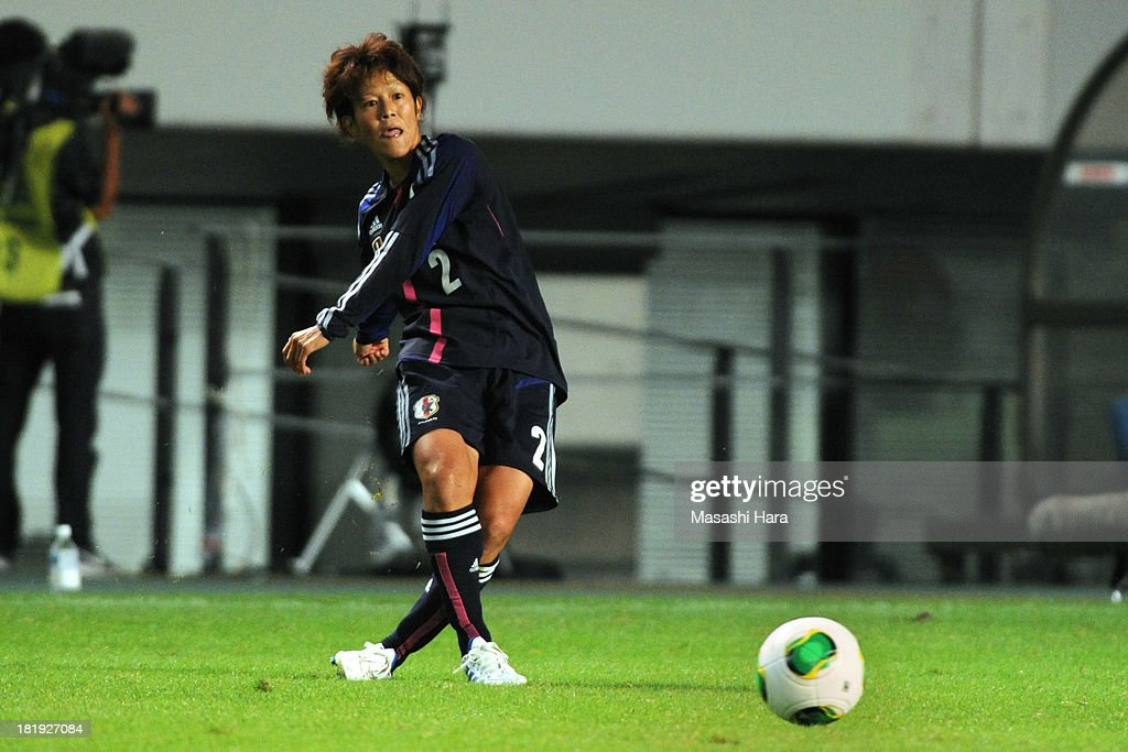 Saori Ariyoshi #2 of Japan in action during the Women's international friendly match between Japan and Nigeria at Fukuda Denshi Arena on September 26, 2013 in Chiba, Japan.