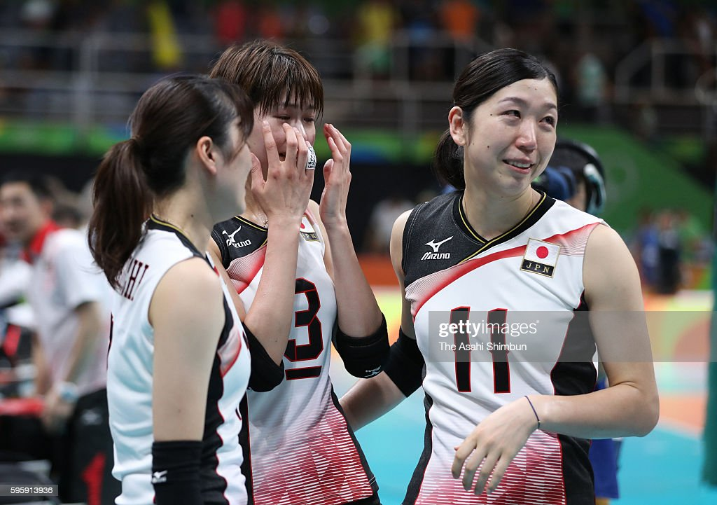 Saori Kimura (C) and Erika Araki (R) of Japan react after the Women's Quarterfinal match between Japan and The United States on day 11 of the Rio 2106 Olympic Games at the Maracanazinho on August 16, 2016 in Rio de Janeiro, Brazil.