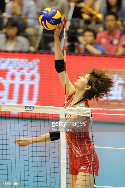 Saori Kimura of Japan attacks during in the match between Japan and Peru during the FIVB Women's Volleyball World Cup Japan 2015 at Sendai City...