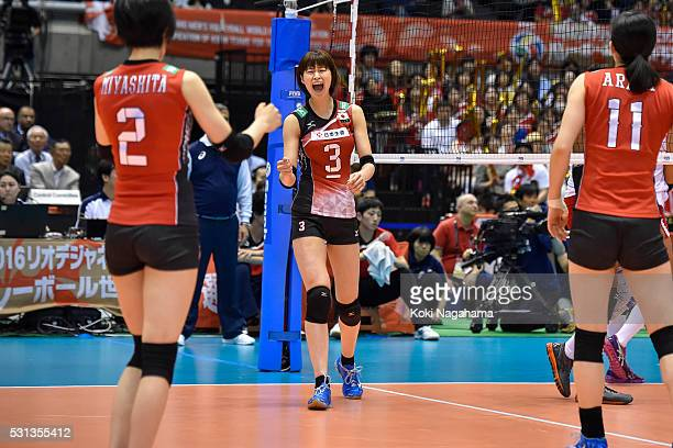 Saori Kimura of Japan celebrates a point durinng the Women's World Olympic Qualification game between Japan and Peru at Tokyo Metropolitan Gymnasium...