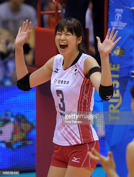 Saori Kimura of Japan celebrates during the FIVB Women's World Championship pool E match between Germany and Japan on October 2 2014 in Trieste Italy