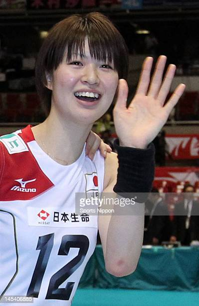 Saori Kimura of Japan celebrates the qualification for London Olympic after the FIVB Women's World Olympic Qualification tournament match between...