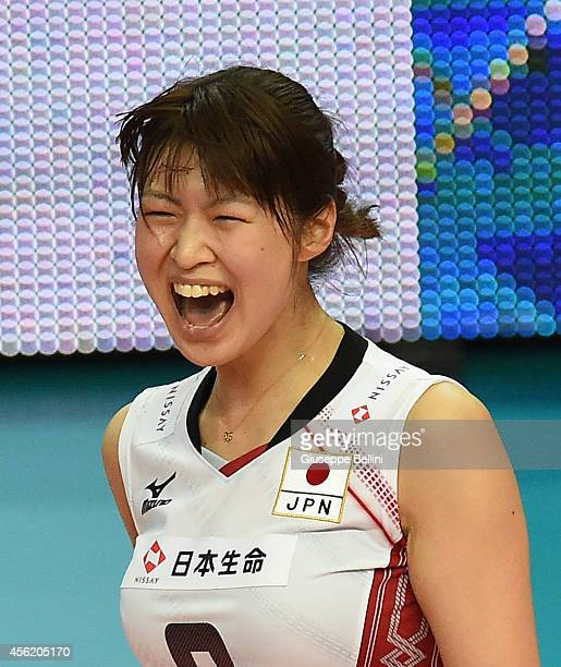 Saori Kimura of Japan celebrates the victory after the FIVB Women's World Championship pool D match between Japan AND Puerto Rico on September 27...